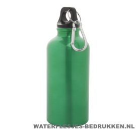 Bidon karabijnhaak medium 400ml bedrukt groen