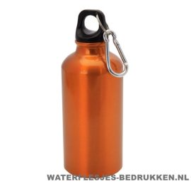 Bidon karabijnhaak medium 400ml bedrukt oranje