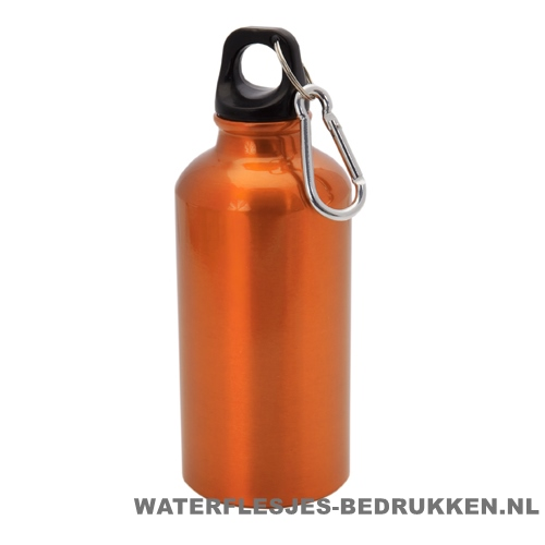 Bidon karabijnhaak medium 400ml bedrukt oranje