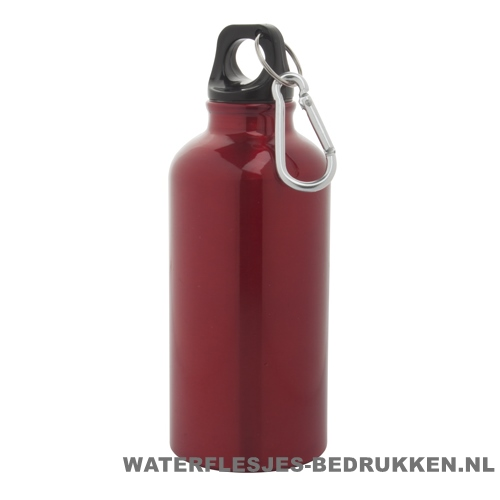 Bidon karabijnhaak medium 400ml bedrukt rood