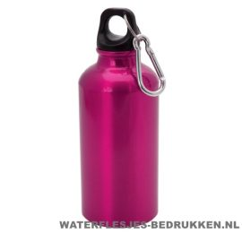 Bidon karabijnhaak medium 400ml bedrukt roze