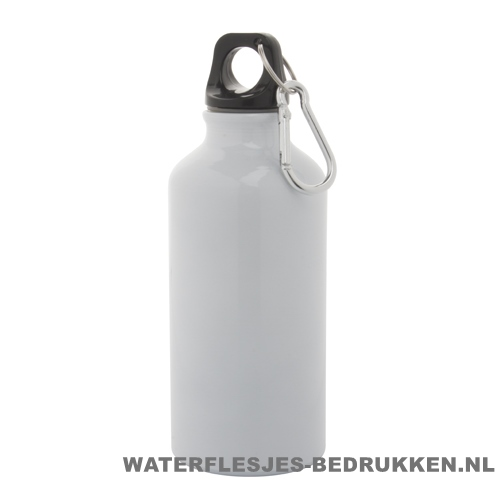 Bidon karabijnhaak medium 400ml bedrukt wit