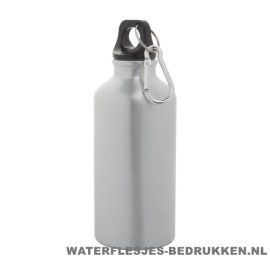 Bidon karabijnhaak medium 400ml bedrukt zilver