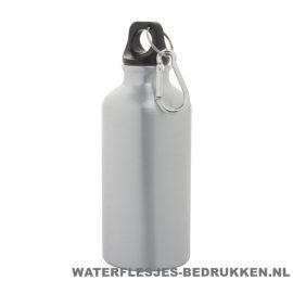 Bidon karabijnhaak medium 400ml bedrukt zilver