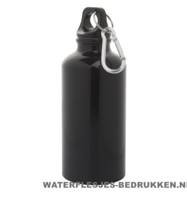 Bidon karabijnhaak medium 400ml bedrukt zwart