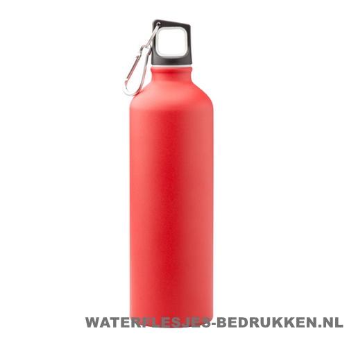 Bidon mat 750ml bedrukt rood