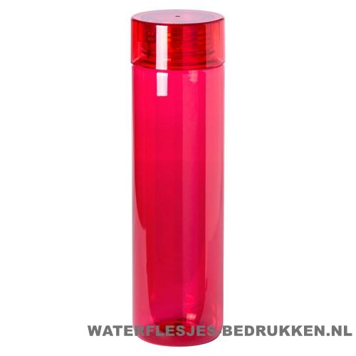 Bidon transparant modern 780ml bedrukt rood