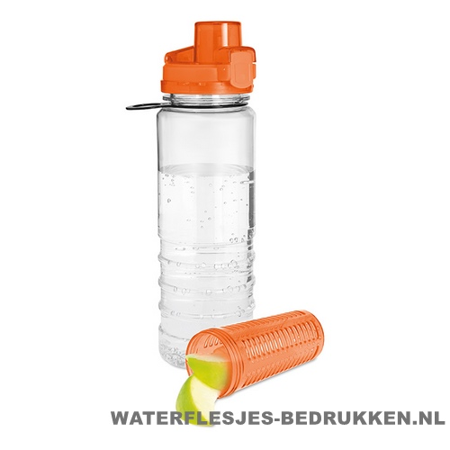 Drinkfles fruitcompartiment bedrukken oranje