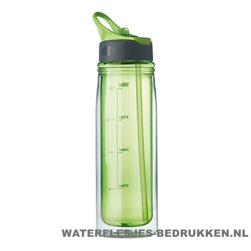 Dubbelwandige drinkfles bedrukken groene