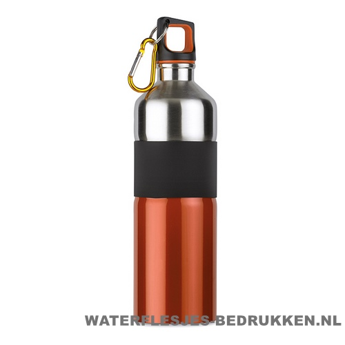 Luxe thermosfles 750ml bedrukt oranje