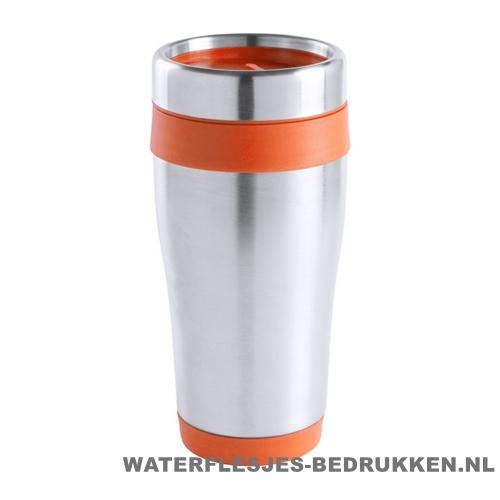 Reisbeker goedkoop RVS 450ml bedrukken oranje