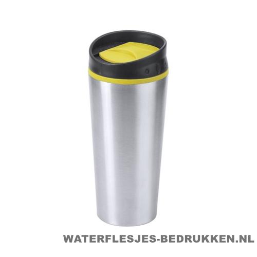 Reisbeker goedkoop color 540ml bedrukken geel
