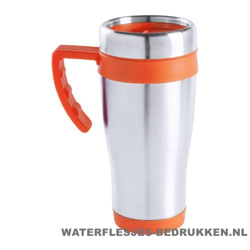 Reisbeker goedkoop gekleurd 450ml bedrukken oranje