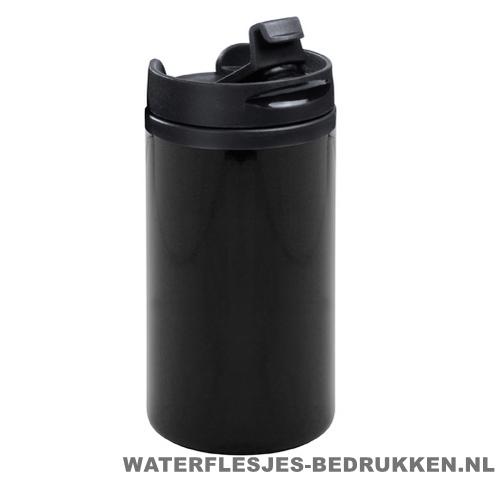 Reisbeker goedkoop klein 280ml bedrukken zwart