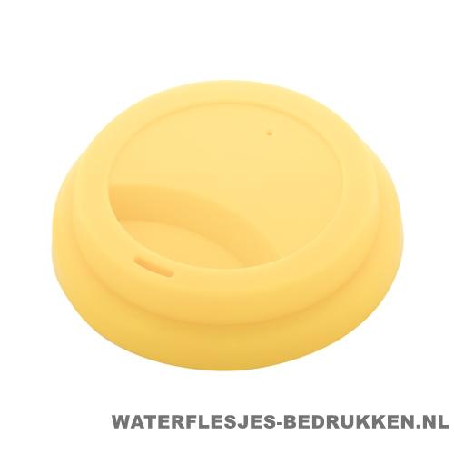 Reisbeker goedkoop multicolor bedrukken deksel geel