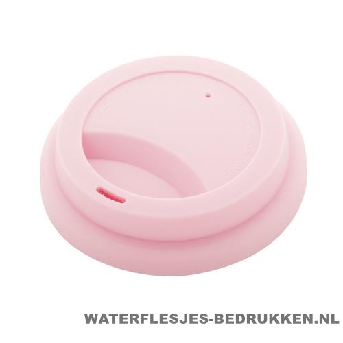 Reisbeker goedkoop multicolor bedrukken deksel roze