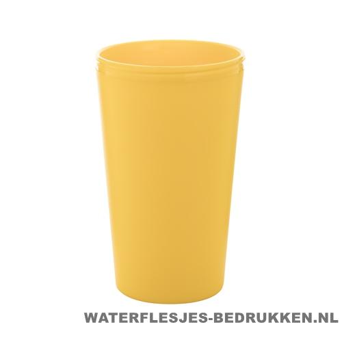 Reisbeker goedkoop multicolor bedrukken geel