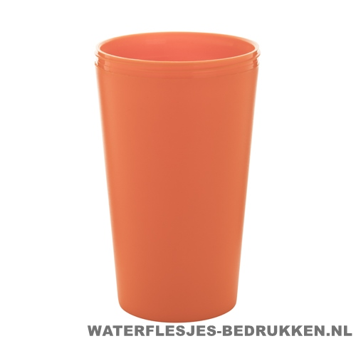 Reisbeker goedkoop multicolor bedrukken oranje
