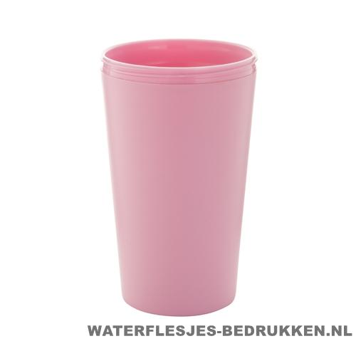 Reisbeker goedkoop multicolor bedrukken roze