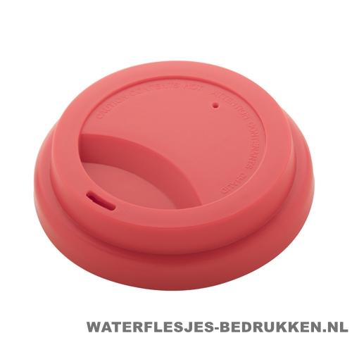 Reisbeker goedkoop multicolor bedrukt deksel rood