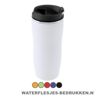 Reisbeker goedkoop plastic 400ml bedrukt