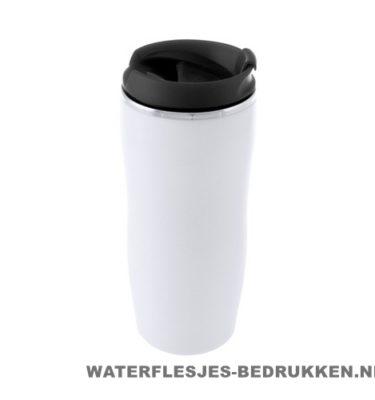 Reisbeker goedkoop plastic 400ml bedrukt zwart
