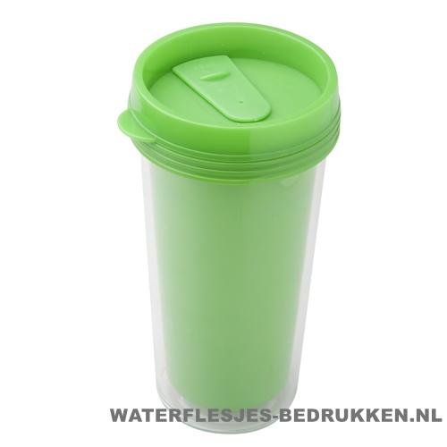 Reisbeker goedkoop voordelig 450ml bedrukt groen