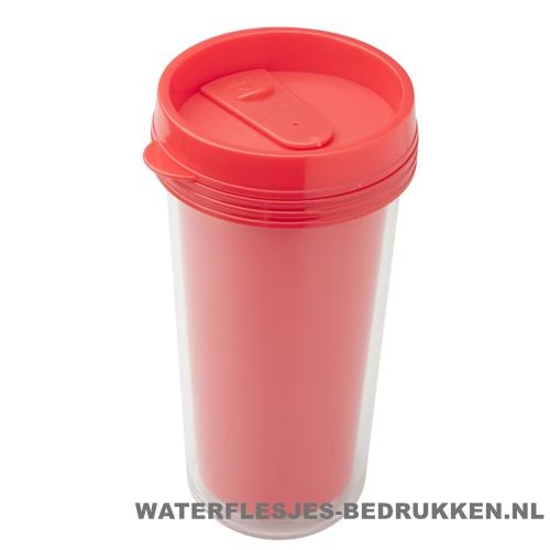 Reisbeker goedkoop voordelig 450ml bedrukt rood