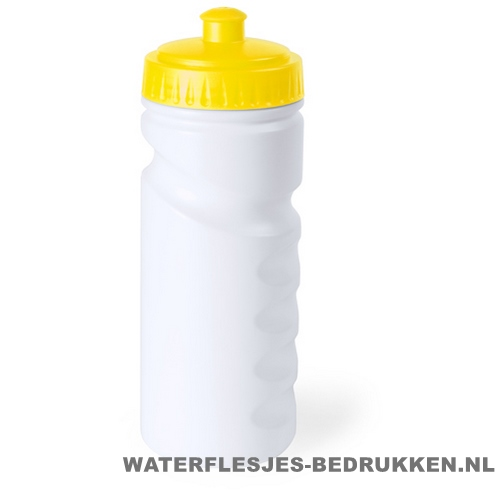 Sport bidon dop gekleurd 500ml bedrukt geel