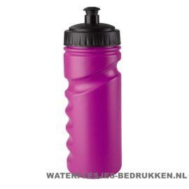 Sport bidon houder gekleurd 500ml bedrukt roze paars