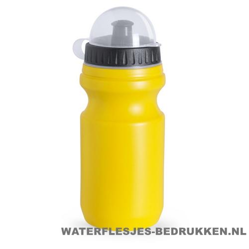 Sport bidon plastic 550ml met logo geel