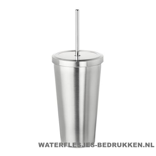 Reisbeker RVS milkshake 500ml bedrukken met rietje