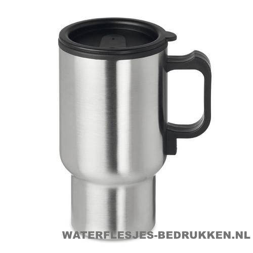 Reisbeker auto warmhoudfunctie 450ml bedrukt koffiebeker