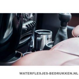 Reisbeker auto warmhoudfunctie 450ml bedrukt sfeerimpressie