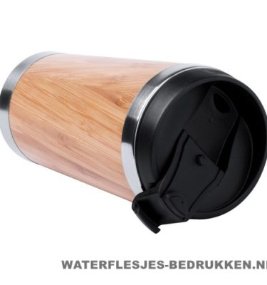 Reisbeker goedkoop bamboe 450ml bedrukken duurzaam