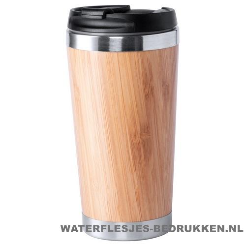 Reisbeker goedkoop bamboe 450ml bedrukken met logo