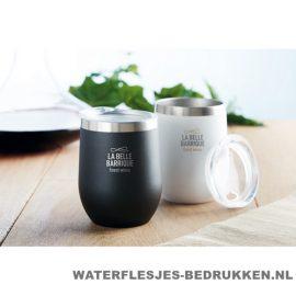 Reisbeker modern 350ml bedrukt RVS koffiebekers