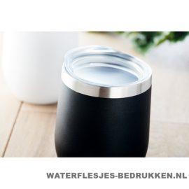 Reisbeker modern 350ml bedrukt koffiebeker zwarte kleur