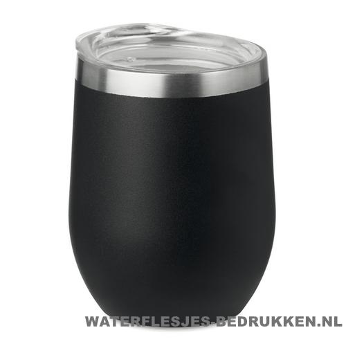 Reisbeker modern 350ml bedrukt zwart