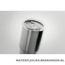 Reisbeker transparant deksel 600ml bedrukt met logo