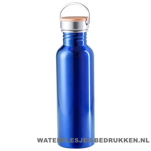 Sport bidon bamboe dop 800 ml blauw alu