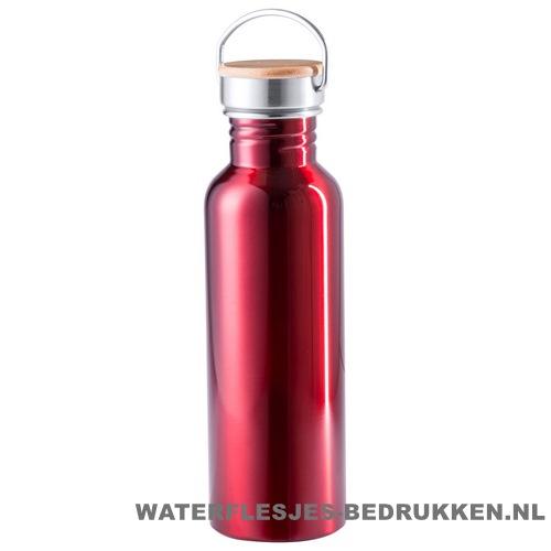 Sport bidon bamboe dop 800 ml rood