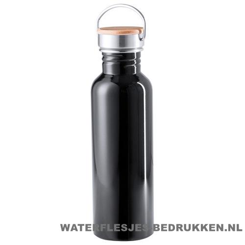 Sport bidon bamboe dop 800 ml zwart alu
