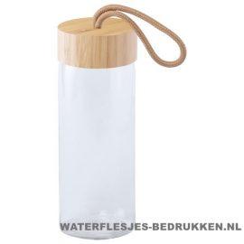 Sport bidon glas bamboe 420ml bedrukken duurzaam