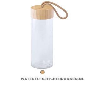 Sport bidon glas bamboe 420ml bedrukken duurzaam geschenk