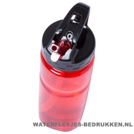 Sport bidon transparant drinktuit 650ml bedrukt rood met logo