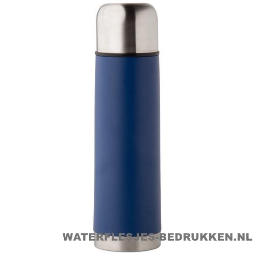 Thermosfles goedkoop klassiek 500ml bedrukt blauw