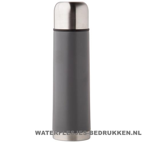 Thermosfles goedkoop klassiek 500ml bedrukt grijs