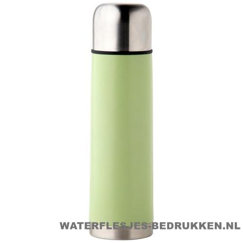 Thermosfles goedkoop klassiek 500ml bedrukt groen