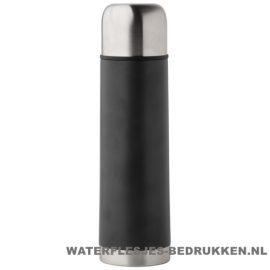 Thermosfles goedkoop klassiek 500ml bedrukt zwart